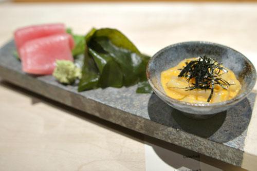 Sumi Ika Somen with Santa Barbara Uni sauce / New Jersey Bigeye Toro / Japanese Wakame