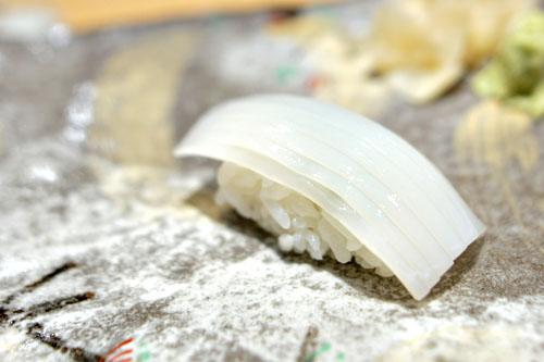 Japanese Sumi Ika (squid) nigiri