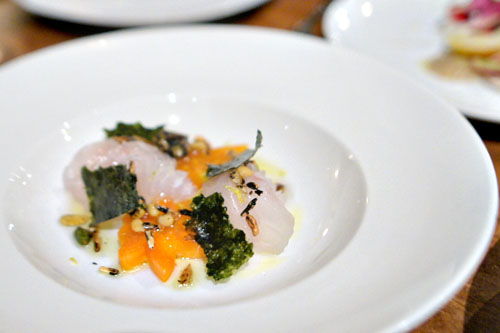 sea bream, lightly cured with persimmon, savory granola