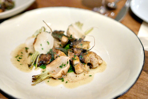 monterey bay abalone with turnip