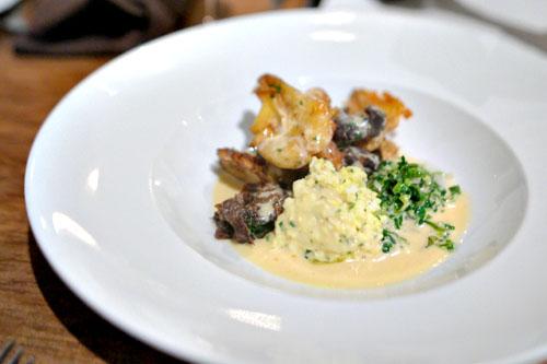 potatoes a la flamande, salt cod alfredo, green garlic