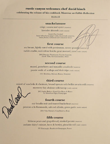 David Kinch at Rustic Canyon Menu