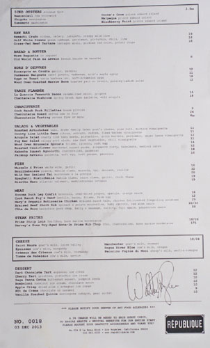 Republique Menu