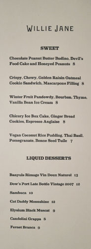Willie Jane Dessert Menu