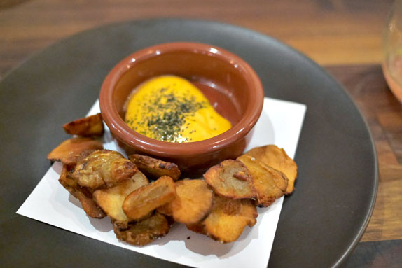 Sunchoke Chips, Chorizo Aioli