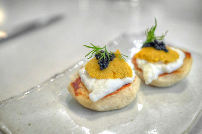 english muffin with uni, caviar & burrata