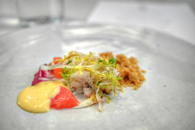 warm salad of chicory, crab & grapefruit with smoky breadcrumbs