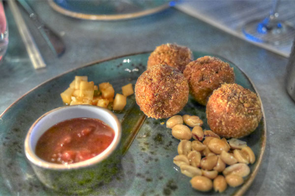 balinese style fried meat balls, banana ketchup