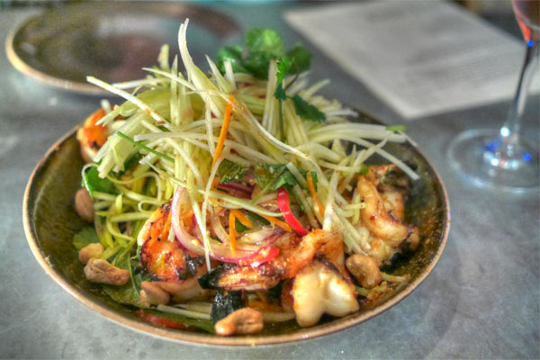 grilled prawns, green papaya, mango, cucumber, onion, cashews, lemongrass-cilantro dressing