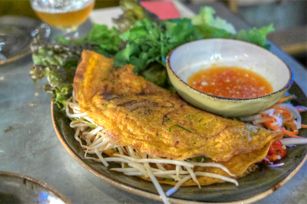 vietnamese crepe, 'banh xeo', pork belly, prawns, bean sprout, herbs n' greens, house dressing