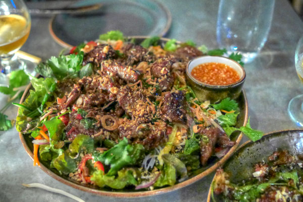 saigon lemongrass beef, vermicelli noodle, herbs, cucumbers, chili-lime dressing
