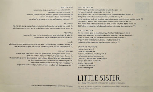 Little Sister Menu