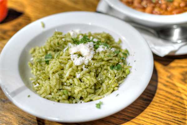 Arroz verde, cilantro herbed rice, fresh cheese