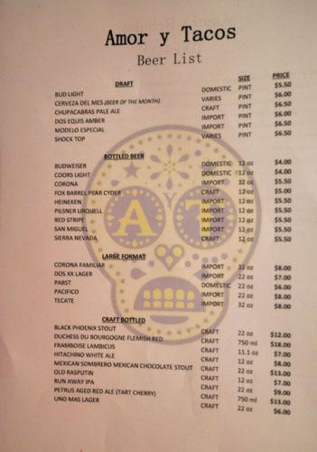 Amor y Tacos Beer List