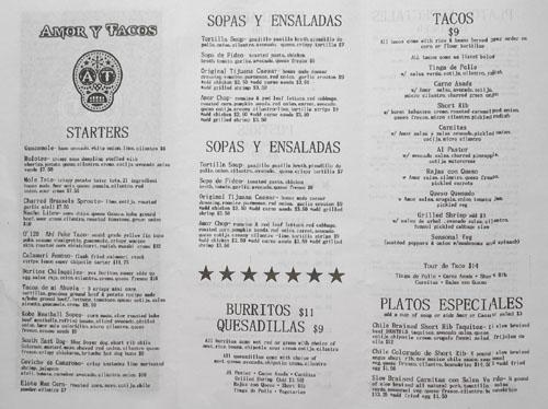 Amor y Tacos Menu