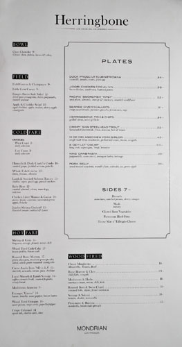 Herringbone Menu