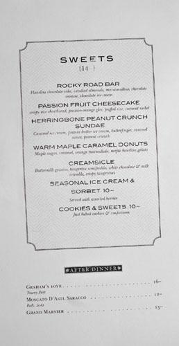Herringbone Dessert Menu
