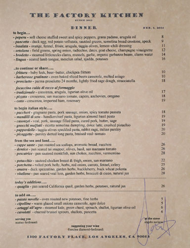 The Factory Kitchen Menu