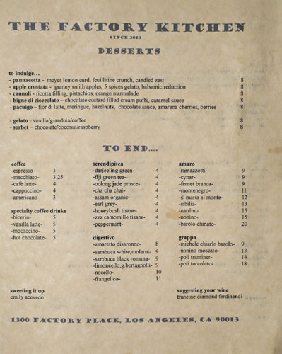The Factory Kitchen Dessert Menu