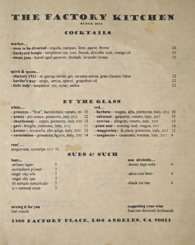 The Factory Kitchen Drink Menu