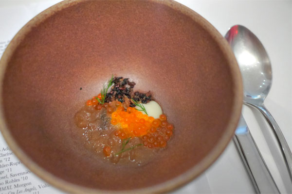 ember roasted chicken consommé, trout roe & shallot