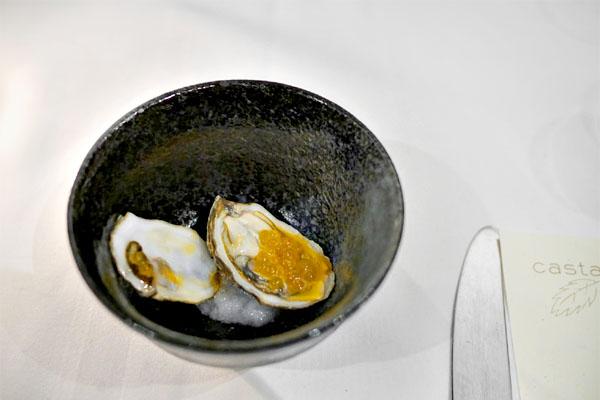 Shigoku oyster with chorizo