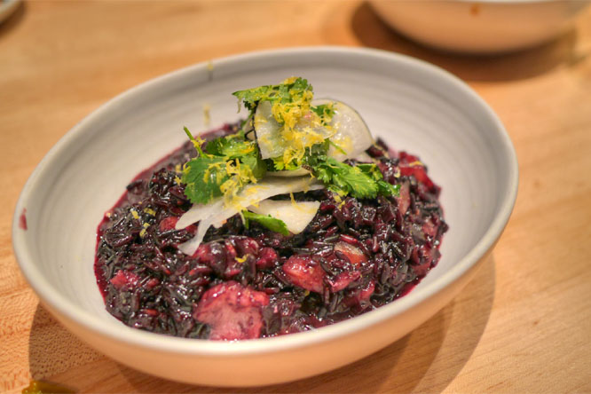 Black rice risotto, salted cod, fennel