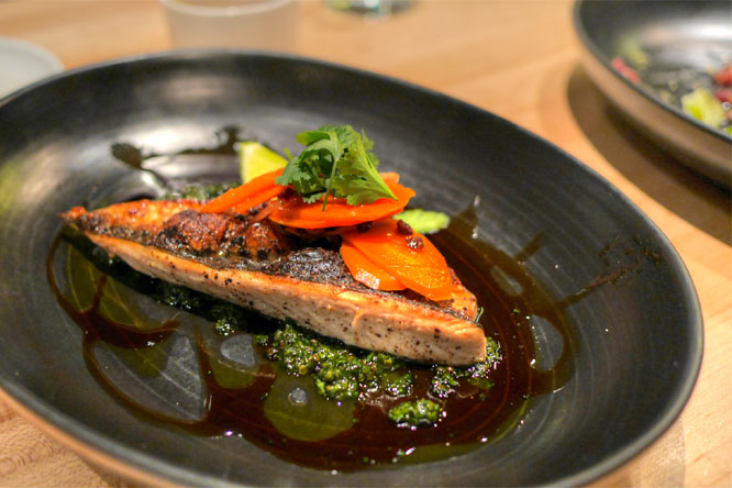 Mackerel, green curry cilantro chimichurri, black currant