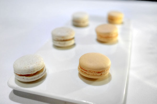 Campari-White Chocolate and Apple Pie Macarons