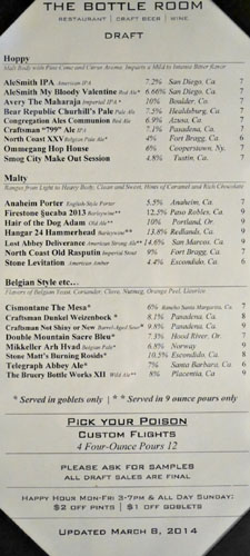 The Bottle Room Draft Beers