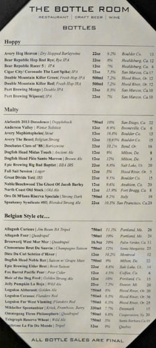 The Bottle Room Beer List
