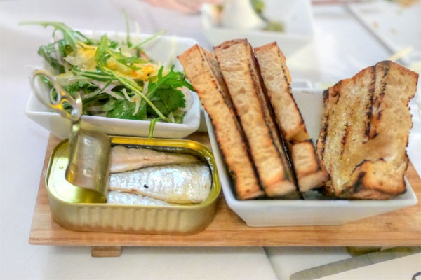 Spanish can 'o' sardines, shaved fennel, house-churned butter, pain rustique