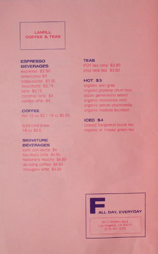 POT Cafe Menu