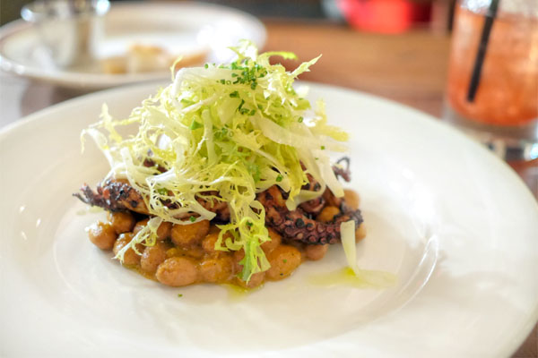 Grilled Octopus with Shelling Beans, Romesco, Shaved Fennel & Frisee