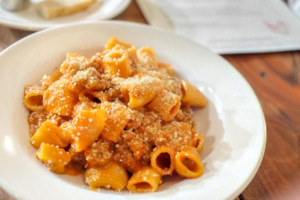 Mezze Rigatoni with Fennel Sausage Ragu & Pecorino Romano [$16.00]