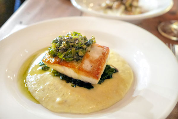 Roasted Rockfish with Soft Polenta, Grilled Kale & Spring Onion Salsa Verde