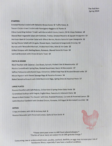 The Red Hen Menu