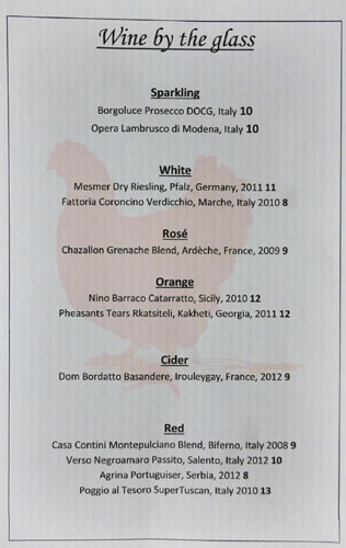 The Red Hen Wines by the Glass