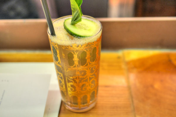 Thai Basil Infused Reposado Tequila, Dry Vermouth, Ginger Beer