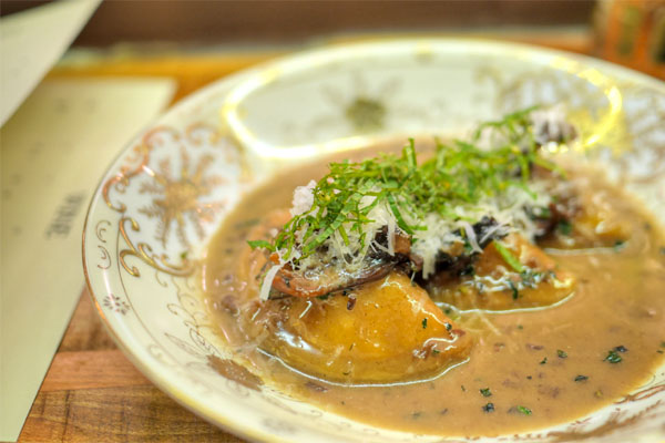 Ricotta-Stuffed 'Gnocchi', Roasted Maiitakes, Pecorino