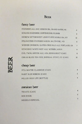 Rose's Luxury Beer List