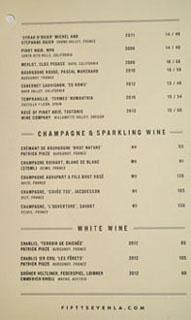 Fifty Seven Wine List