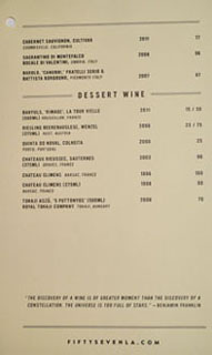 Fifty Seven Wine List