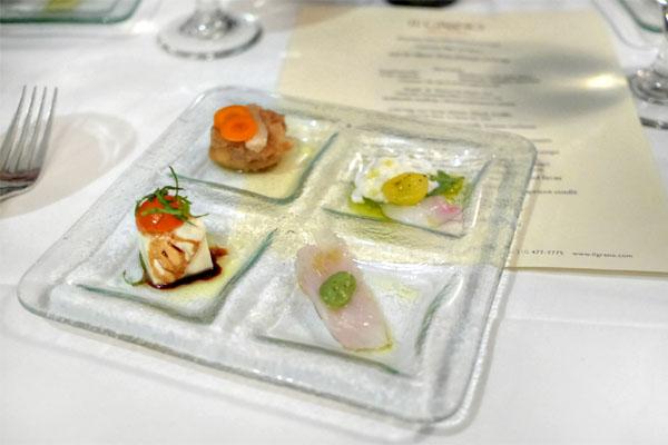 Nambanzuke / Tofu caprese / Halibut crudo pea shiso / Japanese snapper burrata