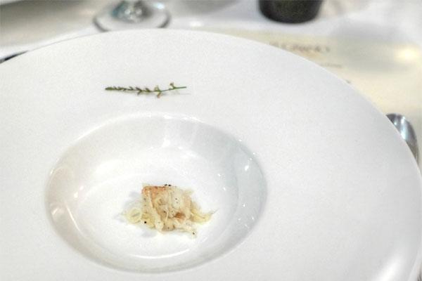 cherry gazpacho, Dungeness crab, lemon verbena