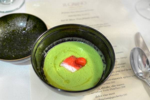 pea soup, kinmedai, marinated Japanese heirloom tomato