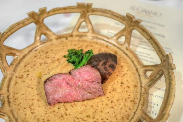 A5 wagyu beef, shitake, olio nuovo