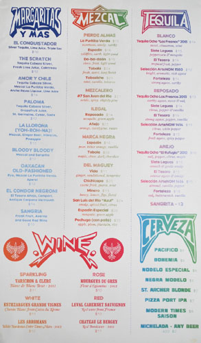 El Condor Drink Menu