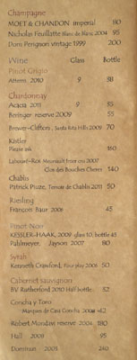 Kiriko Wine List