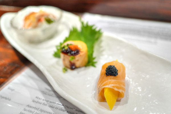 Smoked Salmon and Mango with Caviar / Monkfish Liver / King Crab Salad